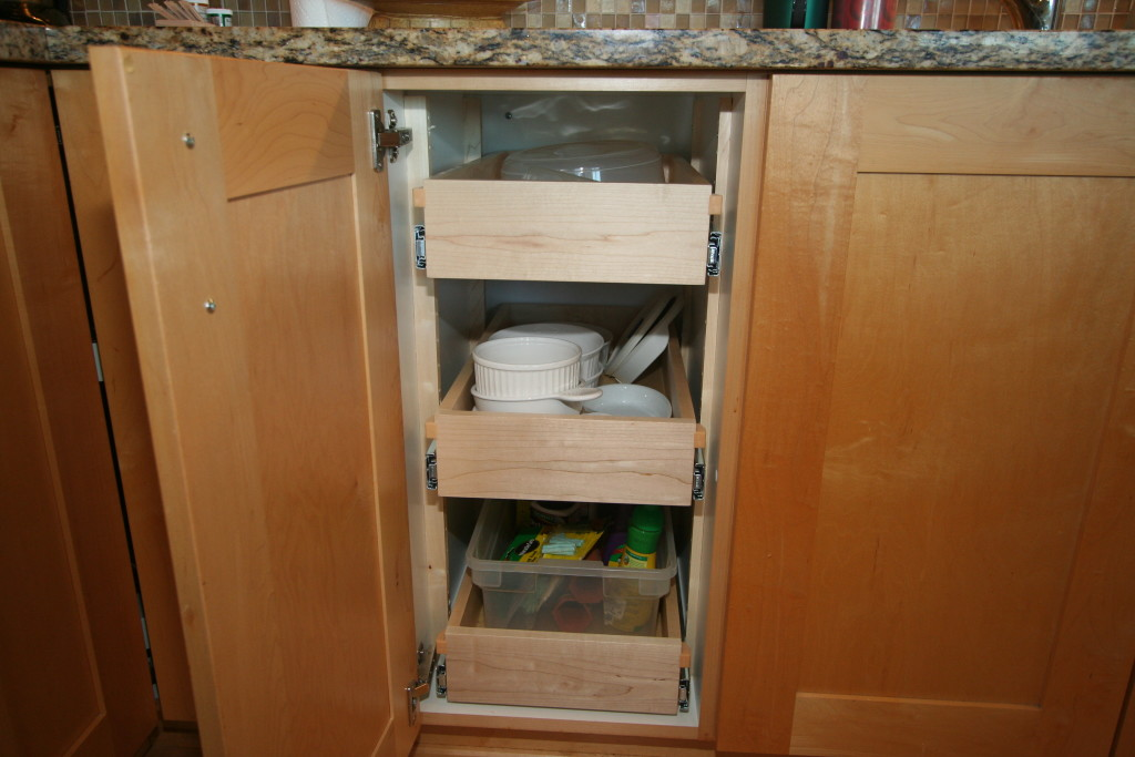 we manufacture and install roll out shelves and custom cabinets for your kitchen bath office or garage